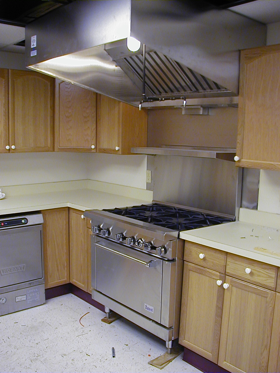 View of commercial kitchen electrical power and lighting installation       Click to return to photo page!